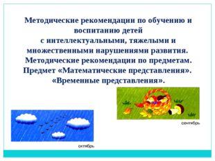 Методические рекомендации по обучению и воспитанию детей с интеллектуальными,