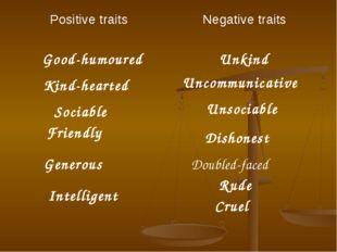 Good-humoured Unkind Kind-hearted Uncommunicative Sociable Unsociable Dishone