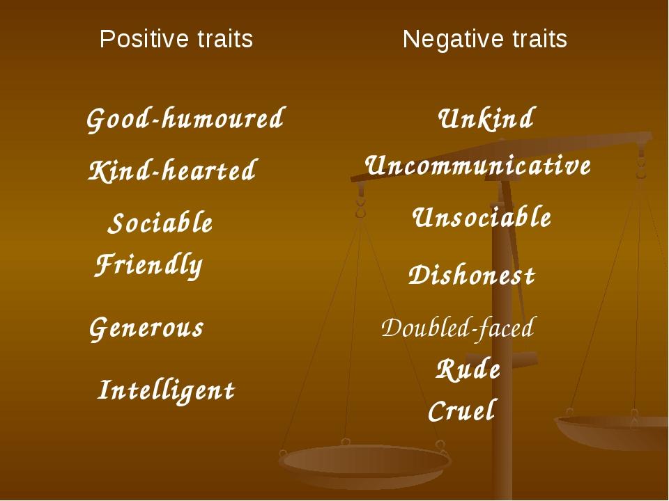Good-humoured Unkind Kind-hearted Uncommunicative Sociable Unsociable Dishone...
