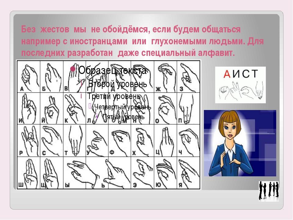 Без жестов мы не обойдёмся, если будем общаться например с иностранцами или г...