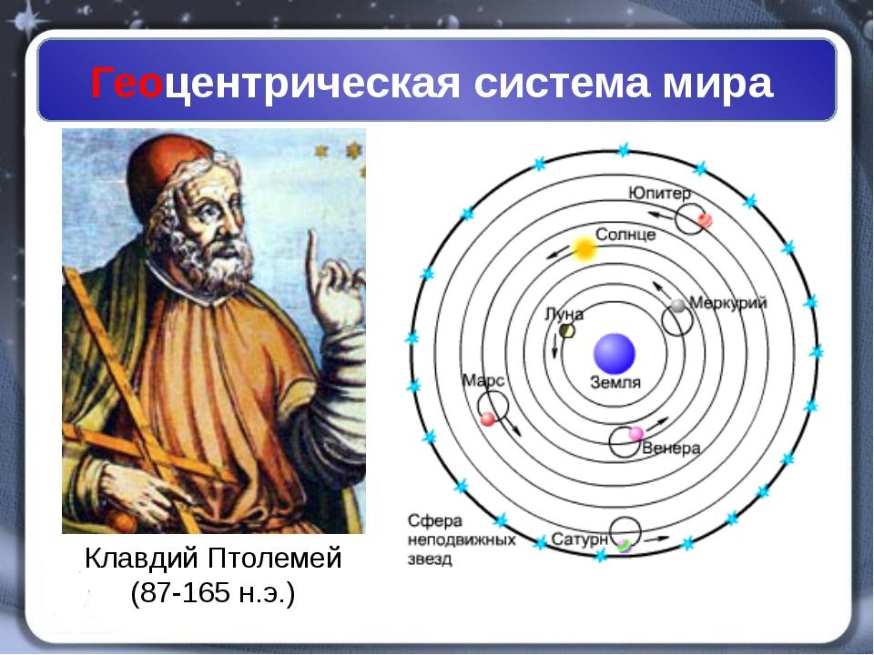 Геоцентрическая система мира Клавдий Птолемей (87-165 н.э.)