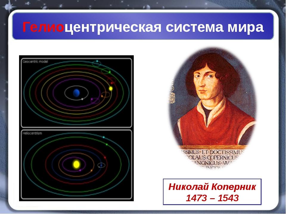 Гелиоцентрическая система мира Николай Коперник 1473 – 1543
