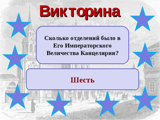 Викторина Сколько отделений было в Его Императорского Величества Канцелярии?...