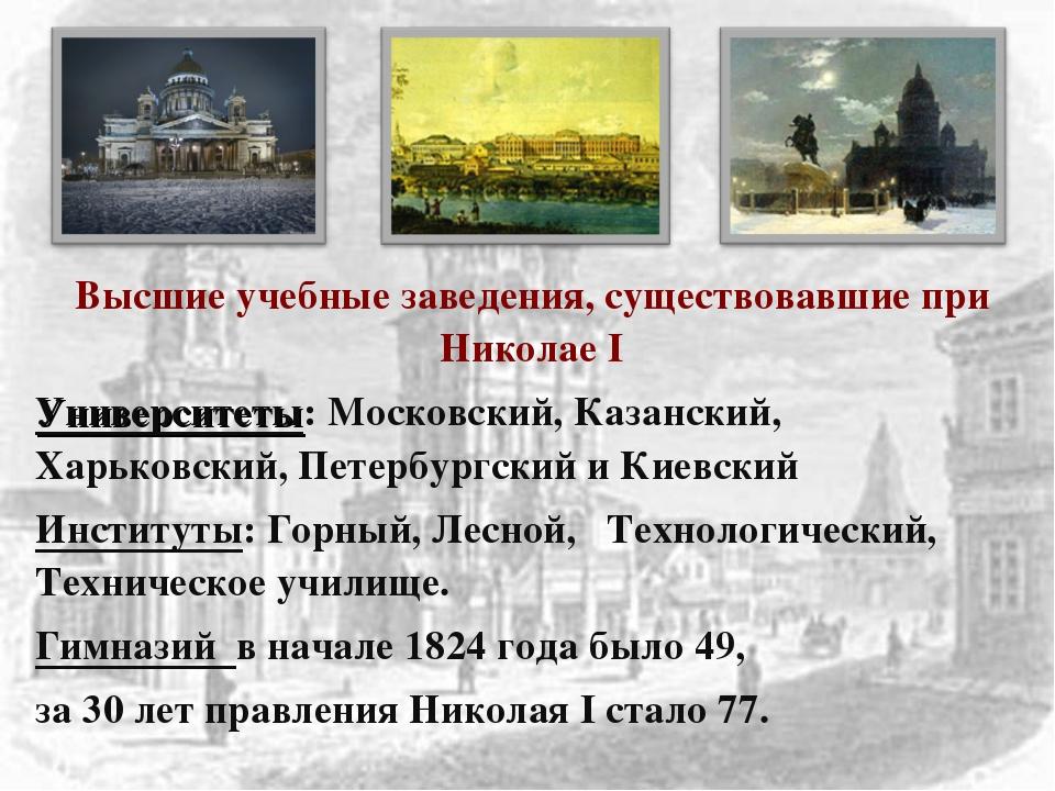 Высшие учебные заведения, существовавшие при Николае I Университеты: Московск...