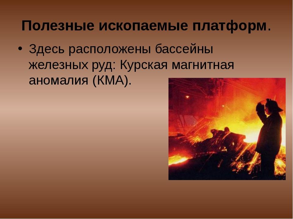 Полезные ископаемые платформ. Здесь расположены бассейны железных руд: Курска...