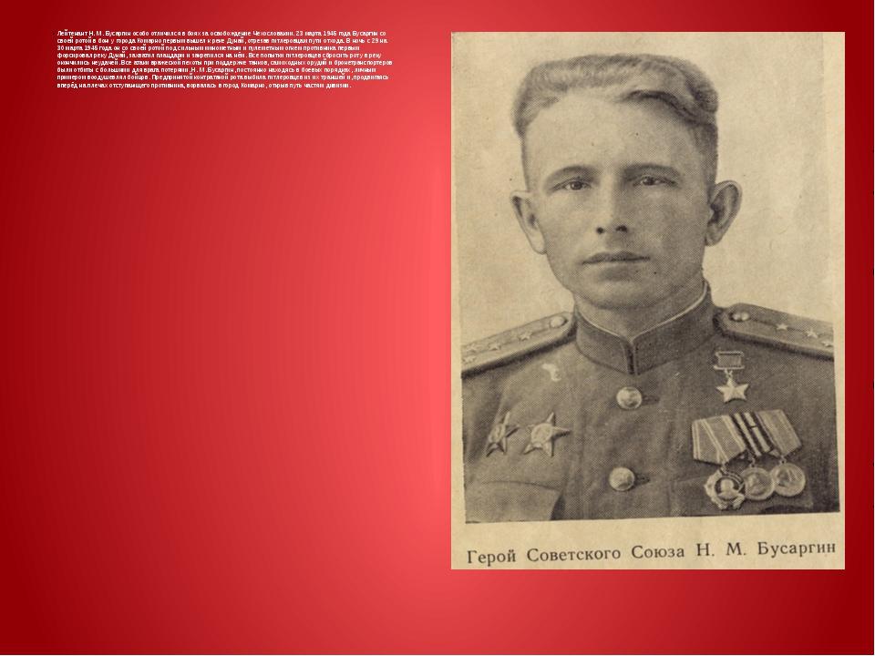 Лейтенант Н. М. Бусаргин особо отличился в боях за освобождение Чехословакии...