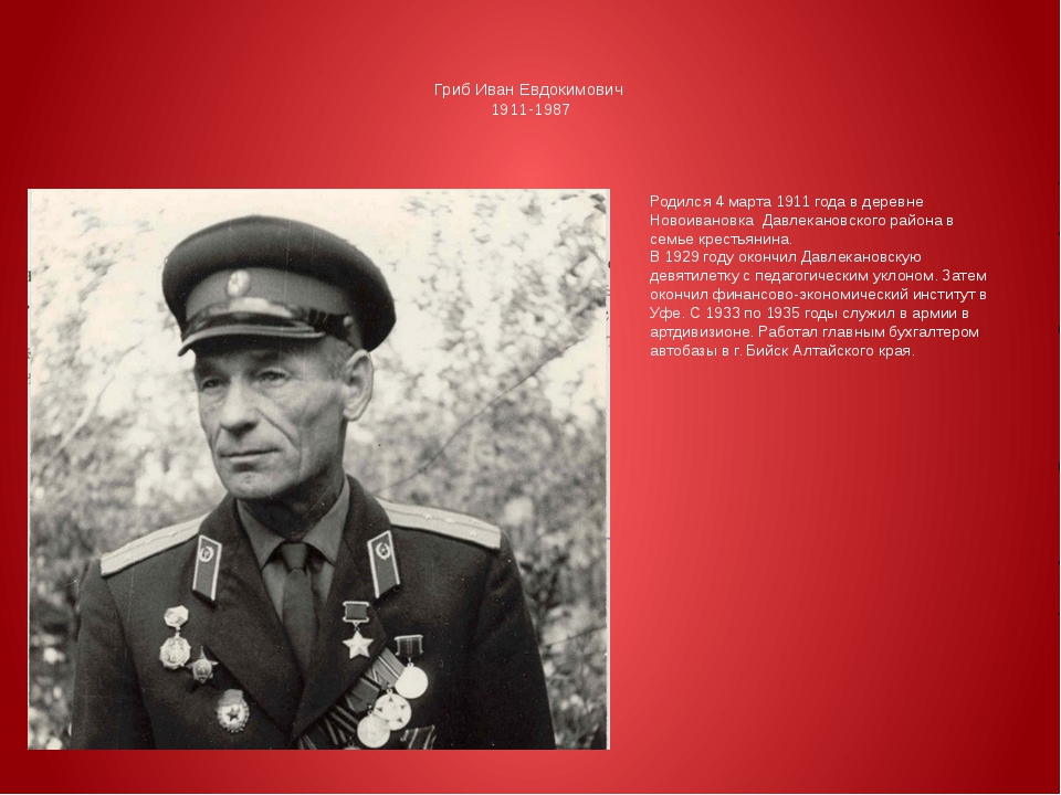Гриб Иван Евдокимович 1911-1987 Родился 4 марта 1911 года в деревне Новоиван...