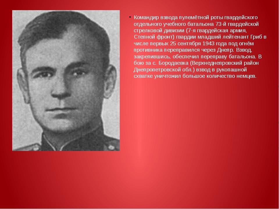 Командир взвода пулемётной роты гвардейского отдельного учебного батальона 7...