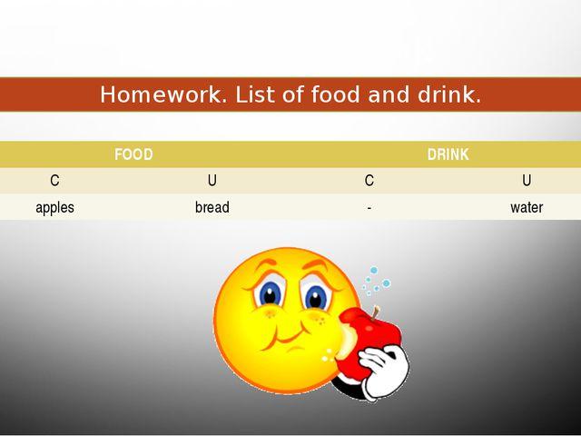 Food and drink Homework. List of food and drink. FOOD DRINK C U C U apples br...