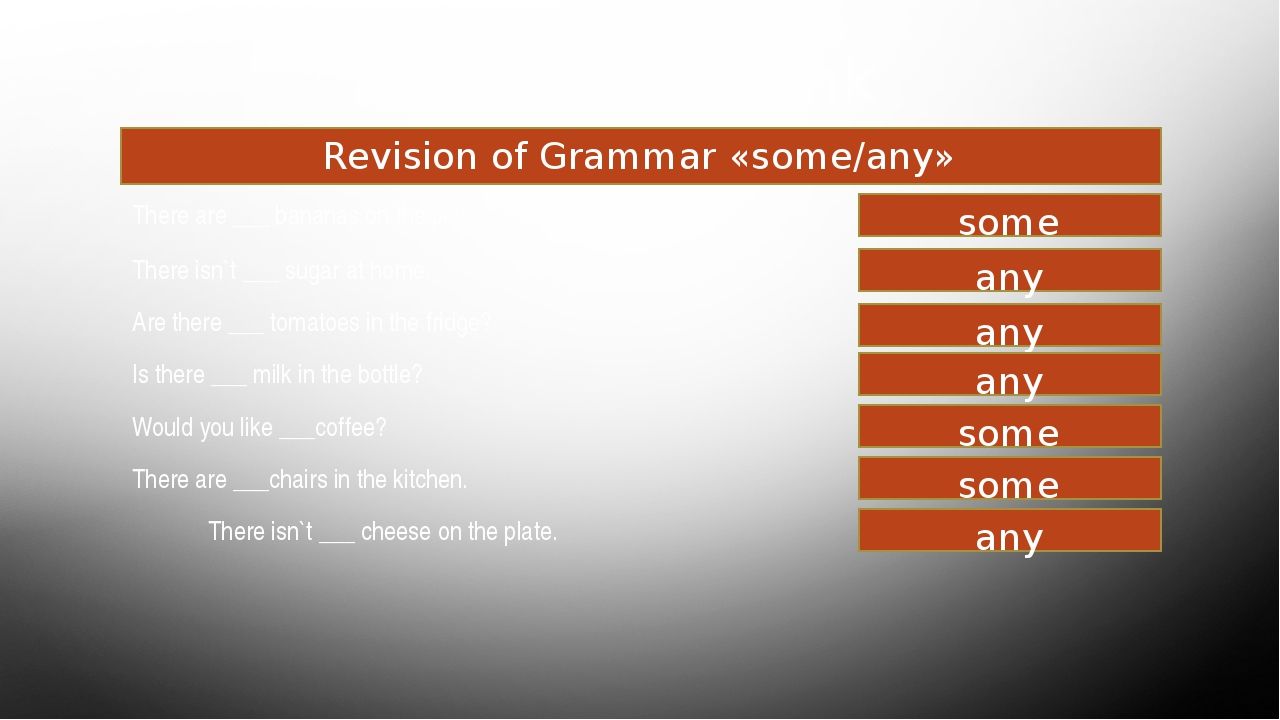 Food and drink Revision of Grammar «some/any» There are ___ bananas onthe pl...