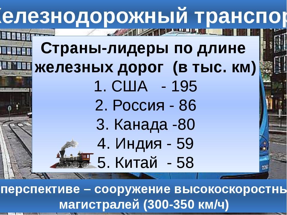 Железнодорожный транспорт Страны-лидеры по длине железных дорог (в тыс. км) С...