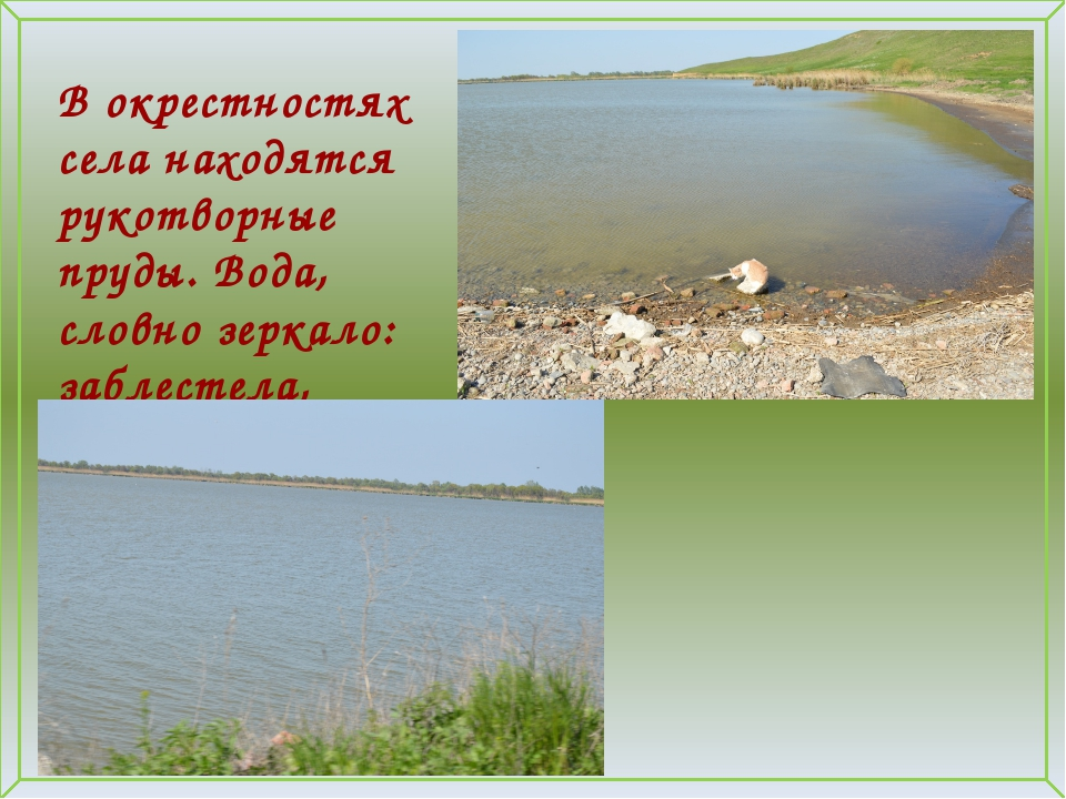 В окрестностях села находятся рукотворные пруды. Вода, словно зеркало: заблес...