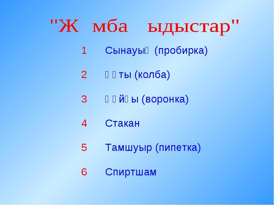 1Сынауық (пробирка) 2Құты (колба) 3Құйғы (воронка) 4Стакан 5Тамшуыр (пип...