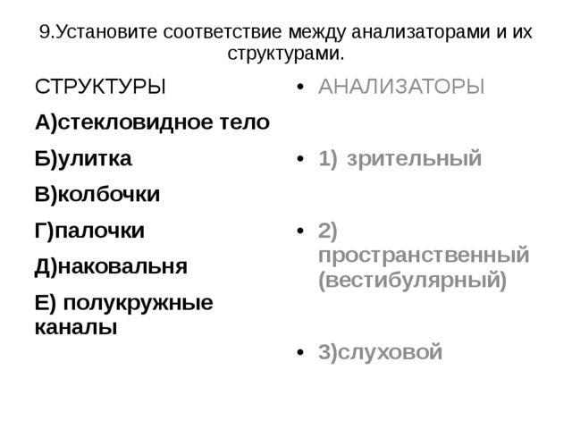 9.Установите соответствие между анализаторами и их структурами. СТРУКТУРЫ A)с...