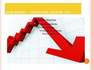 дефляции – снижения уровня цен