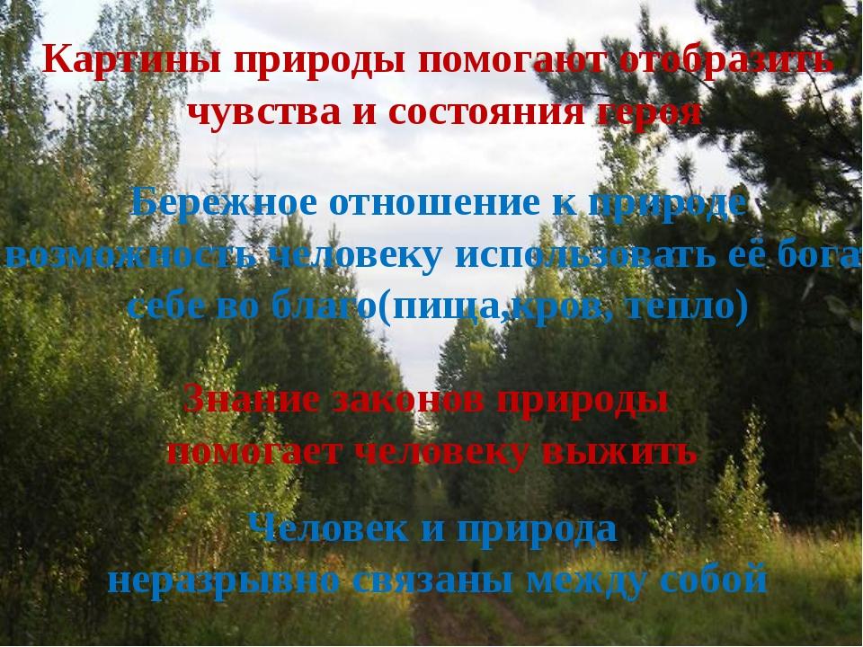 Картины природы помогают отобразить чувства и состояния героя Бережное отнош...