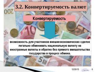 3.2. Конвертируемость валют Конвертируемость возможность для участников внешн