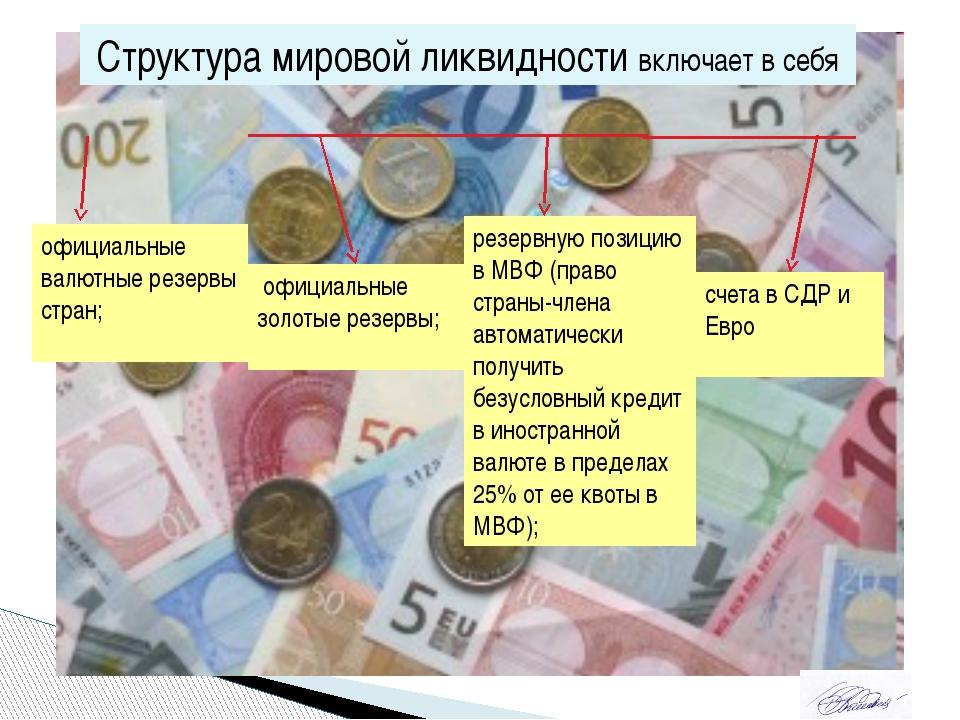 Структура мировой ликвидности включает в себя официальные валютные резервы ст...
