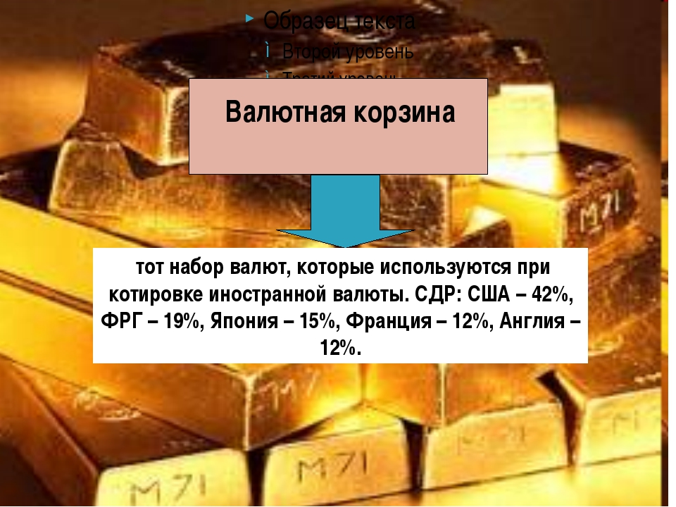 Валютная корзина тот набор валют, которые используются при котировке иностра...