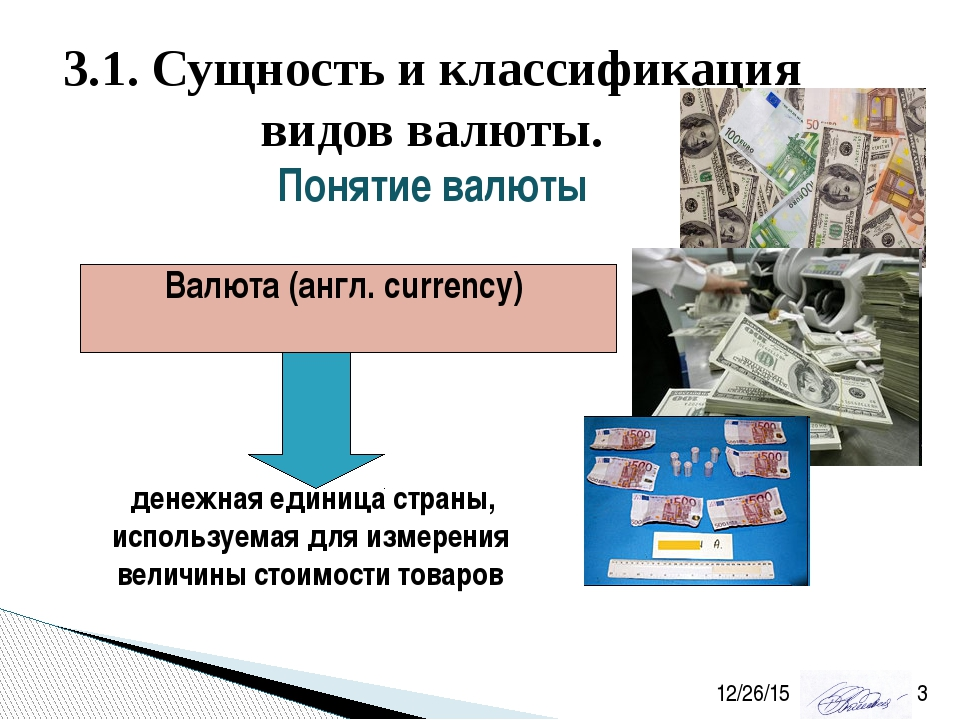 3.1. Сущность и классификация видов валюты. Понятие валюты Валюта (англ. curr...