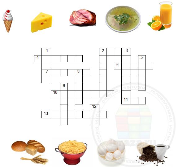 Кроссворд по англ.языку по теме «Еда»