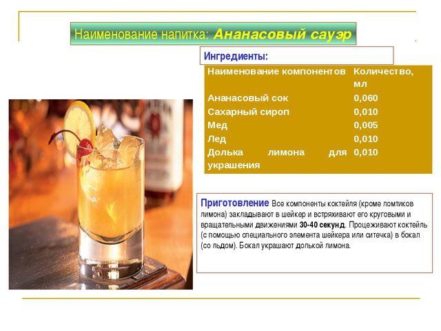 Приготовление Все компоненты коктейля (кроме ломтиков лимона) закладывают в ш...