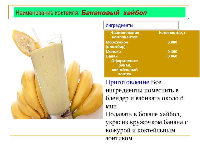 Наименование коктейля: Банановый хайбол Приготовление Все ингредиенты помести...