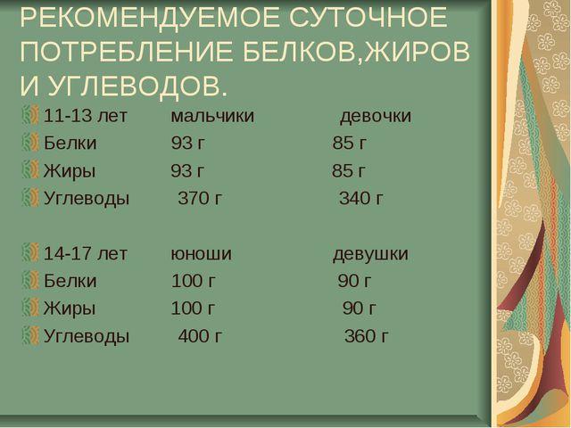 РЕКОМЕНДУЕМОЕ СУТОЧНОЕ ПОТРЕБЛЕНИЕ БЕЛКОВ,ЖИРОВ И УГЛЕВОДОВ. 11-13 лет мальчи...