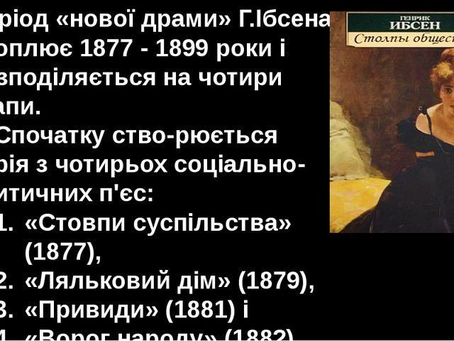 Період «нової драми» Г.Ібсена охоплює 1877 - 1899 роки і розподіляється на чо...