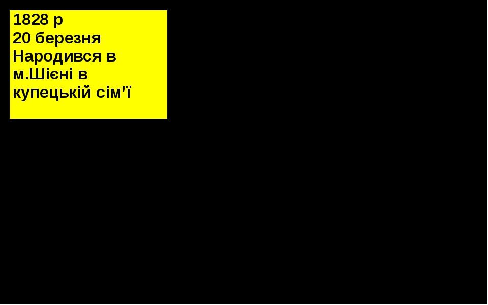 1828р 20 березня Народився вм.Шієнів купецькійсім'ї