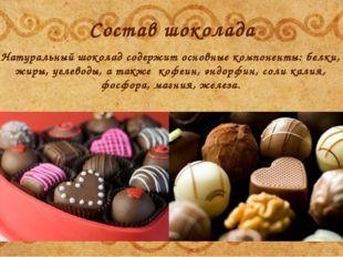 Состав шоколада Натуральный шоколад содержит основные компоненты: белки, жиры