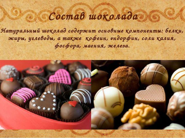 Состав шоколада Натуральный шоколад содержит основные компоненты: белки, жиры...