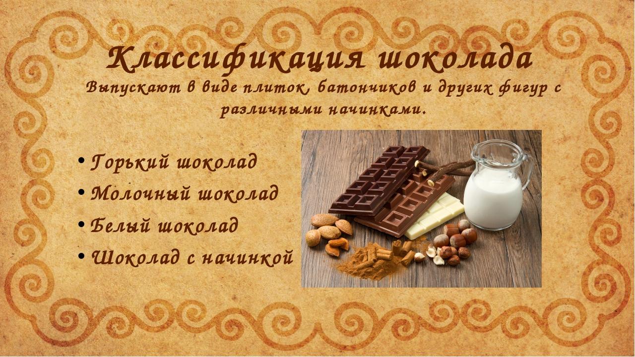 Классификация шоколада Горький шоколад Молочный шоколад Белый шоколад Шоколад...