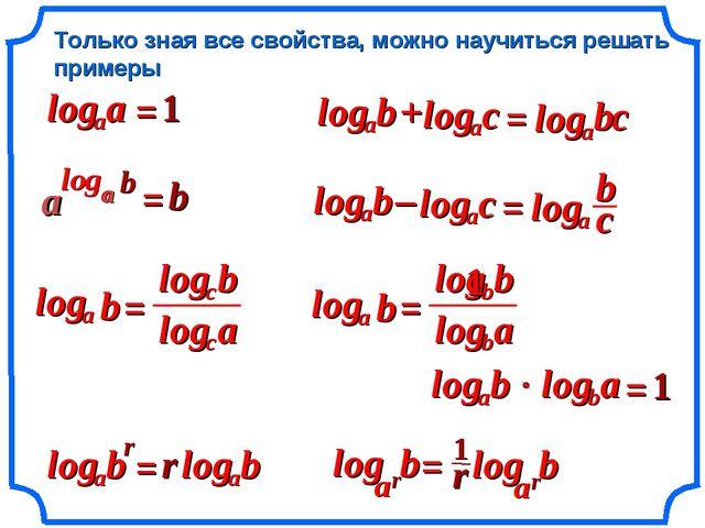 Только зная все свойства, можно научиться решать примеры = = 1 = = b r a log