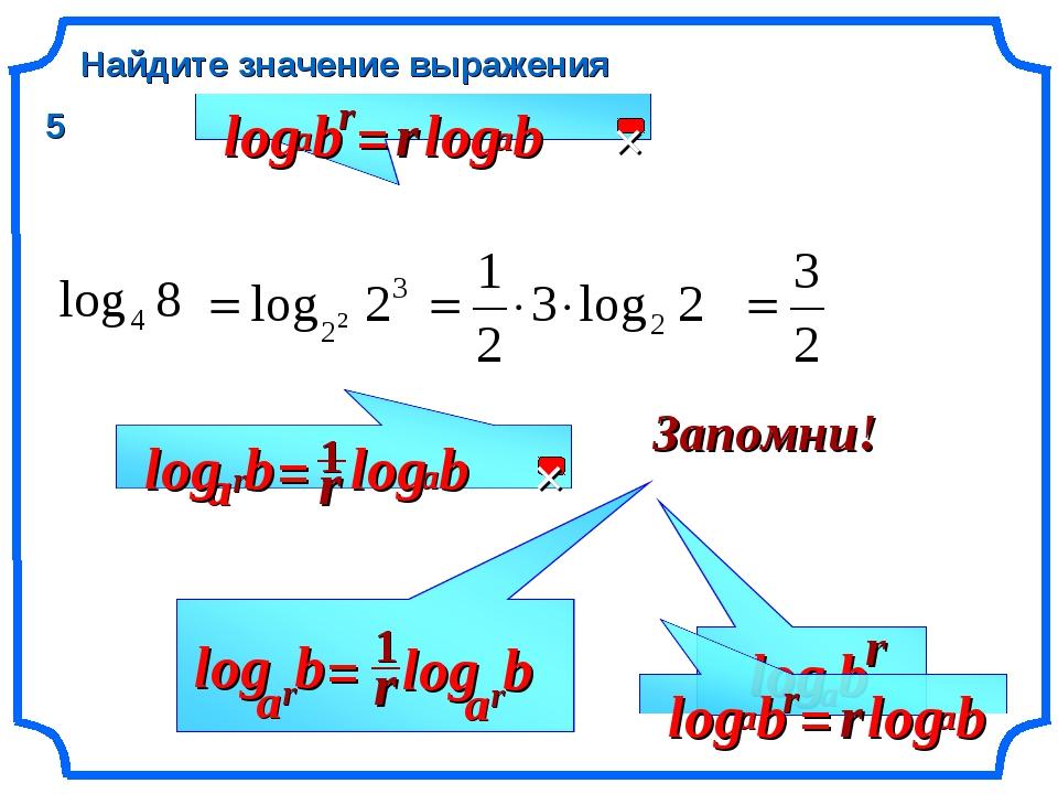 b Найдите значение выражения r a log Запомни! r 5