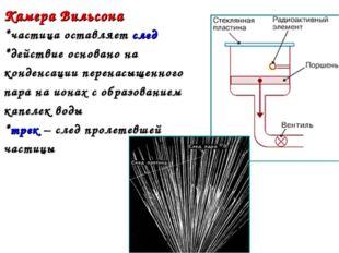 Камера Вильсона *частица оставляет след *действие основано на конденсации пер