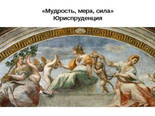 «Мудрость, мера, сила» Юриспруденция юриспруденцию («Мудрость, мера, сила»).