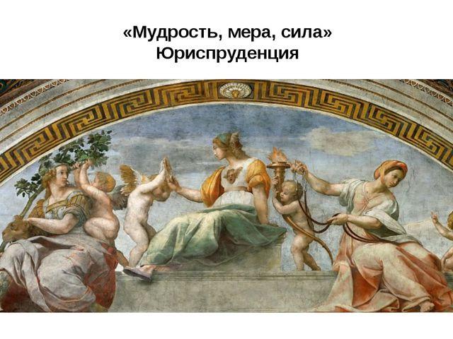 «Мудрость, мера, сила» Юриспруденция юриспруденцию («Мудрость, мера, сила»)....