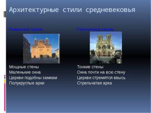 Архитектурные стили средневековья Романский стиль Готический стиль Мощные сте
