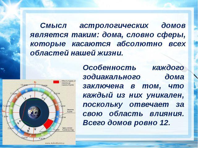 Смысл астрологических домов является таким: дома, словно сферы, которые каса...