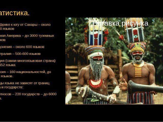 Статистика. В Африке к югу от Сахары – около 2000 языков Южная Америка – до 3...