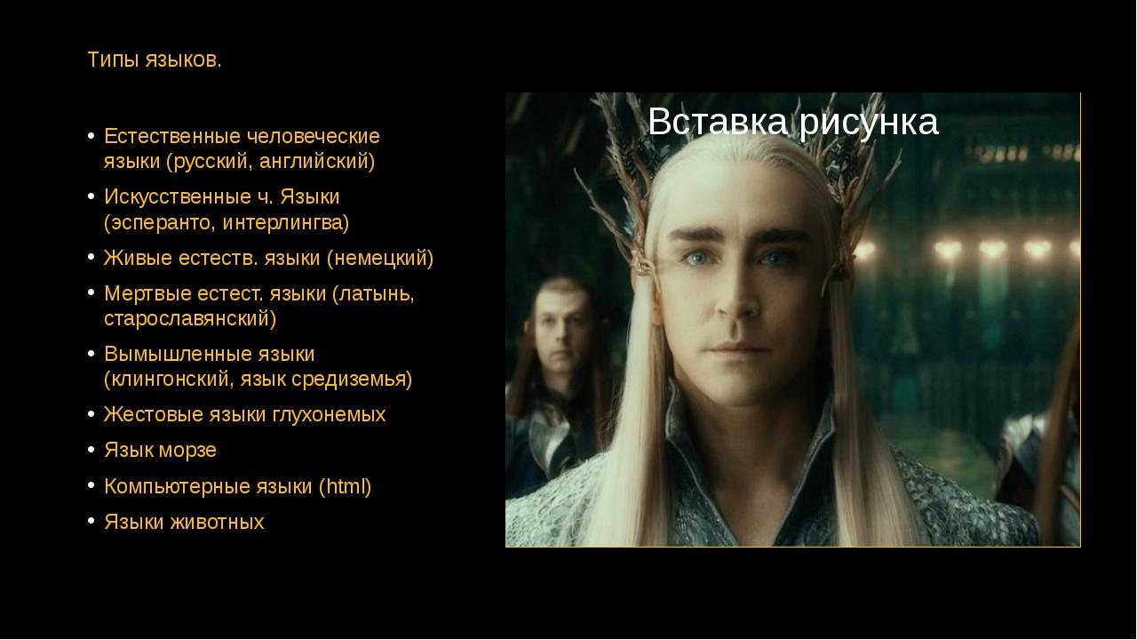 Типы языков. Естественные человеческие языки (русский, английский) Искусствен...