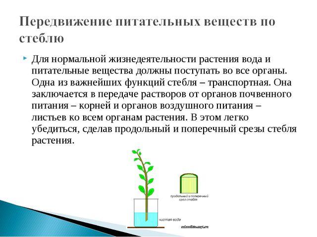 Для нормальной жизнедеятельности растения вода и питательные вещества должны...
