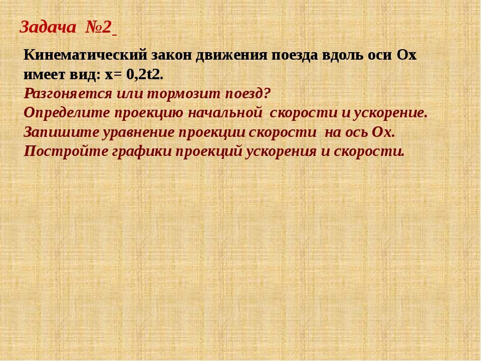 Задача №2 Кинематический закон движения поезда вдоль оси Ох имеет вид: x= 0,2...