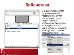 В библиотеке хранятся ресурсы проекта – изображения, кнопки, клипы, видео, зв