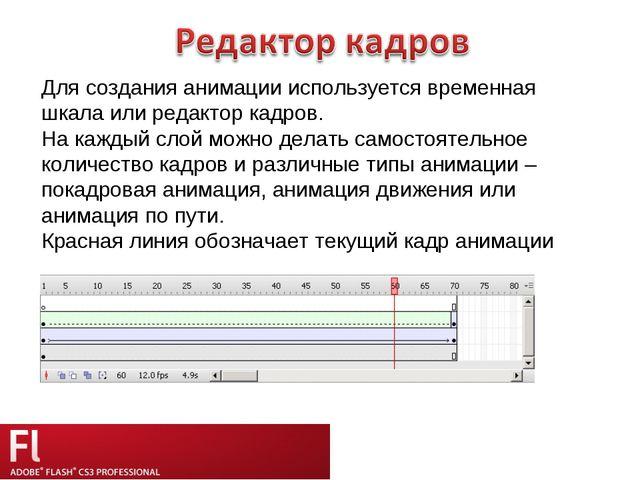 Для создания анимации используется временная шкала или редактор кадров. На ка...