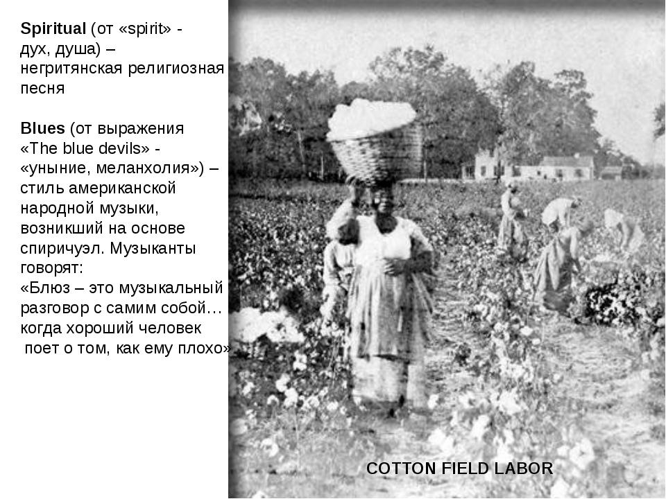 COTTON FIELD LABOR Spiritual (от «spirit» - дух, душа) – негритянская религио...