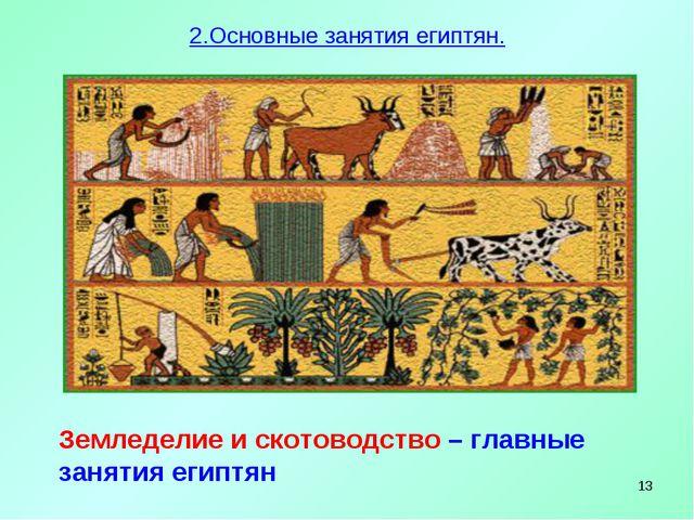 * Земледелие и скотоводство – главные занятия египтян 2.Основные занятия егип...