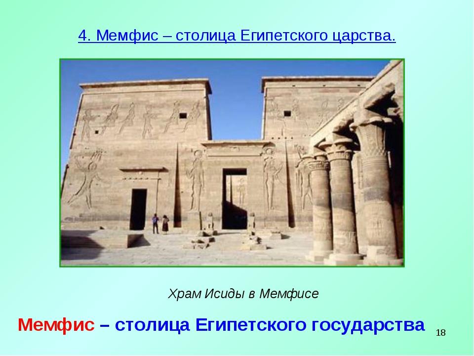 * 4. Мемфис – столица Египетского царства. Храм Исиды в Мемфисе Мемфис – стол...