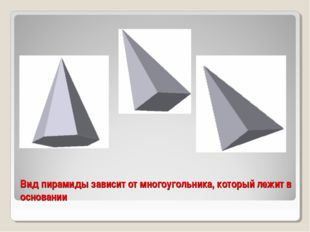 Вид пирамиды зависит от многоугольника, который лежит в основании
